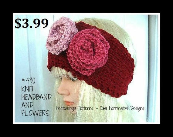 Knitting Patterns Headband And Flowers Red Button Up Head Etsy