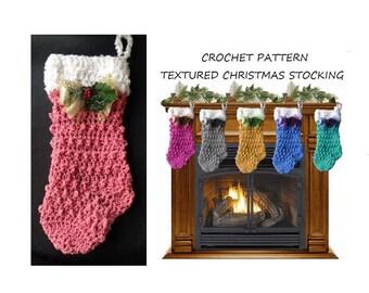 Christmas stocking crochet pattern, TEXTURED CHRISTMAS STOCKING, easy pattern, #2772, Home decor, Christmas decoration, diy hanging stocking