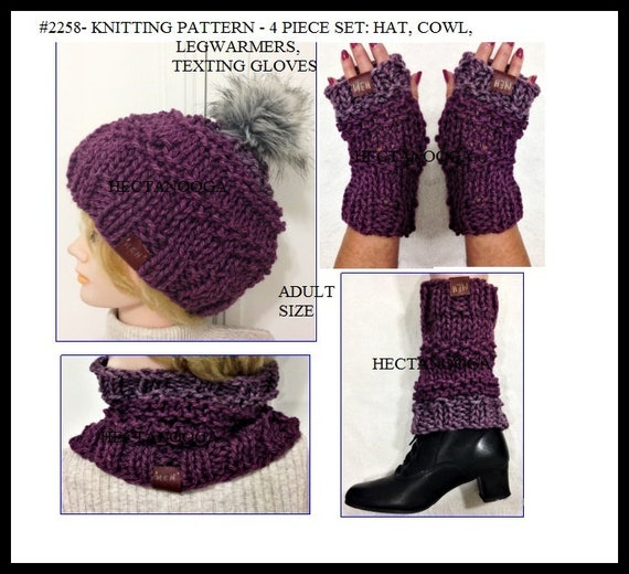 KNITTING PATTERNS Caron Tea Cakes Hat set 4 piece set  Hat  ee02c32ded4