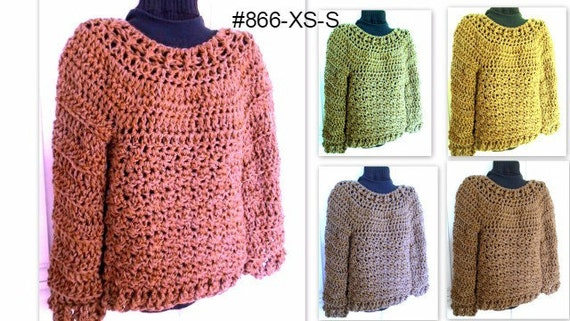 Crochet Pattern Pullover Sweater Chunky Oversized Sweater Etsy