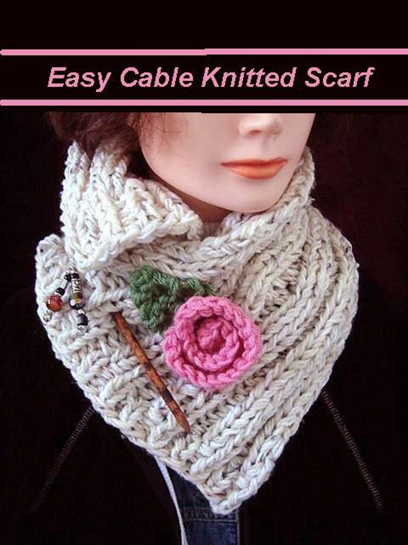 Knitting Pattern Scarf Knitted Ribbed Cowl Knit Flower And Etsy
