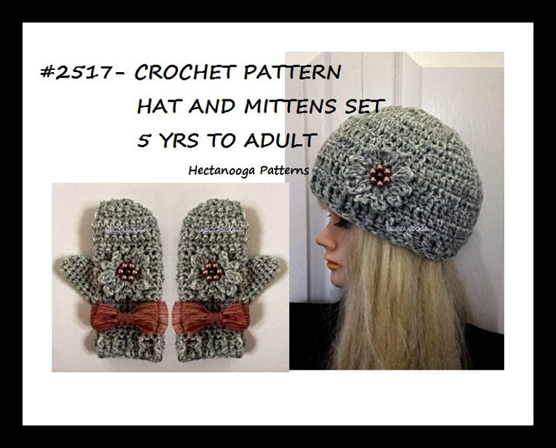 Easy crochet hat pattern crochet mittens pattern HAT AND image 0