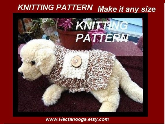 Knitting Pattern Doggie Coat Number 101 Make It Any Size Etsy
