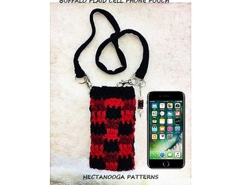 cell phone pouch CROCHET PATTERN, Easy Buffalo Plaid technique, free video demo, #2748