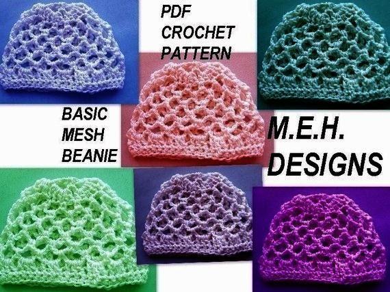 251 Crochet Pattern Basic Mesh Beanie Wborn To Adult Etsy