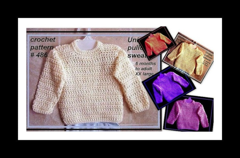 CROCHET PATTERNS 486 all sizes 1 yr to adult XL image 0