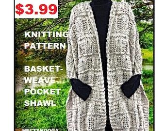 KNITTING PATTERN, Basketweave Pocket Shawl, 3.5 hours to make, beginner level, #2748, knits for women,  Pocket scarf, women's accessories