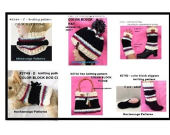KNITTING PATTERNS,  Hat, Cowl, Legwarmers, Texting Gloves/Fingerless Gloves, Slippers, Dog Coat, Purse, FREE cell phone pouch #2749