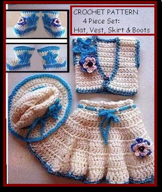 Crochet Pattern Baby Cowgirl Skirt Hat Vest Booties 4 Etsy