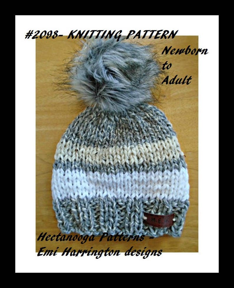 7f3ac7e544f0 Knit hat PATTERN Newborn to Adult Quick and easy beginner