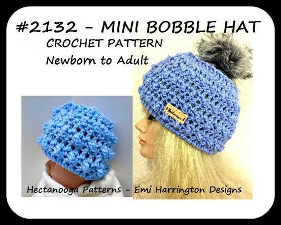 Bobble Hat Pattern 3 Piece Set Crochet Hat Pattern Crochet Etsy