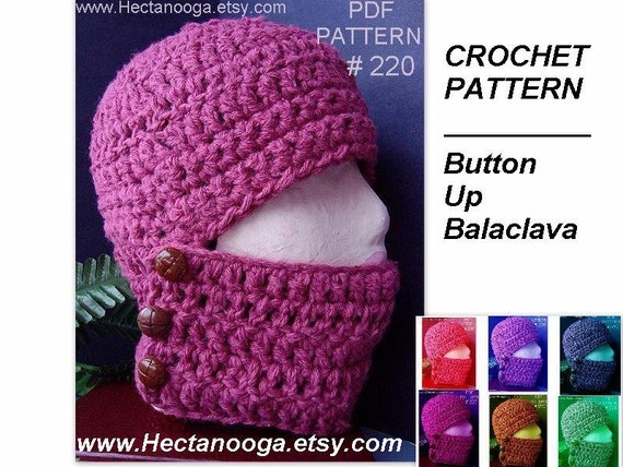 Hat Crochet Pattern Num 220 Button Up Balaclava Free