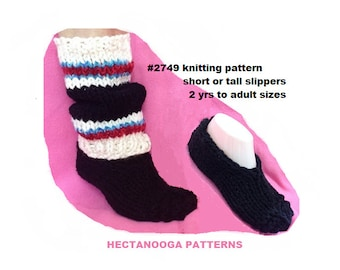KNIT SLIPPER PATTERN, knitting patterns, unisex slippers, ankle length or tall, all sizes from 2 yrs to adult L, #3749, Color Block Slippers