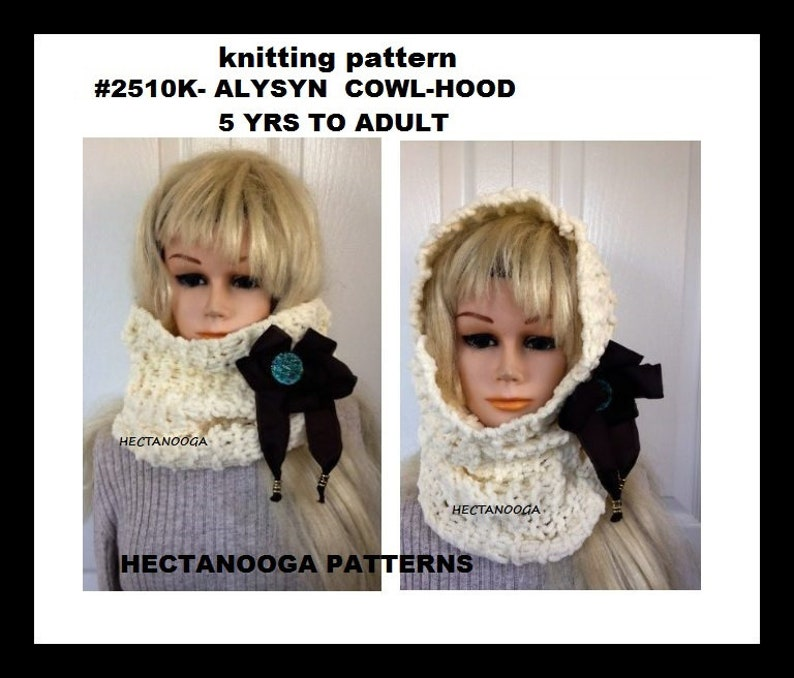 knitting pattern COWL-HOOD Alysyn hood cowl quick and easy image 0