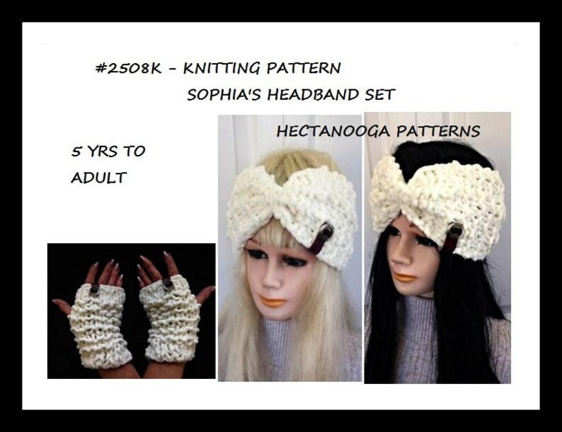 Knitting Pattern Headband and Texting Gloves set Sophia image 0