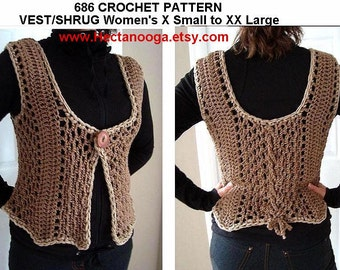 Crochet PATTERN num. 686.. Taupe Vest Shrug, make it any size, X Small to XXLarge, or make it custom size
