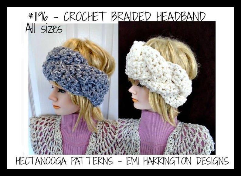 7d3ce9f26 Crochet PATTERN, Braided HEADBAND, Crochet FLOWER, make any size, #1196,  crochet for baby, kids, children, preteen, teen, adult