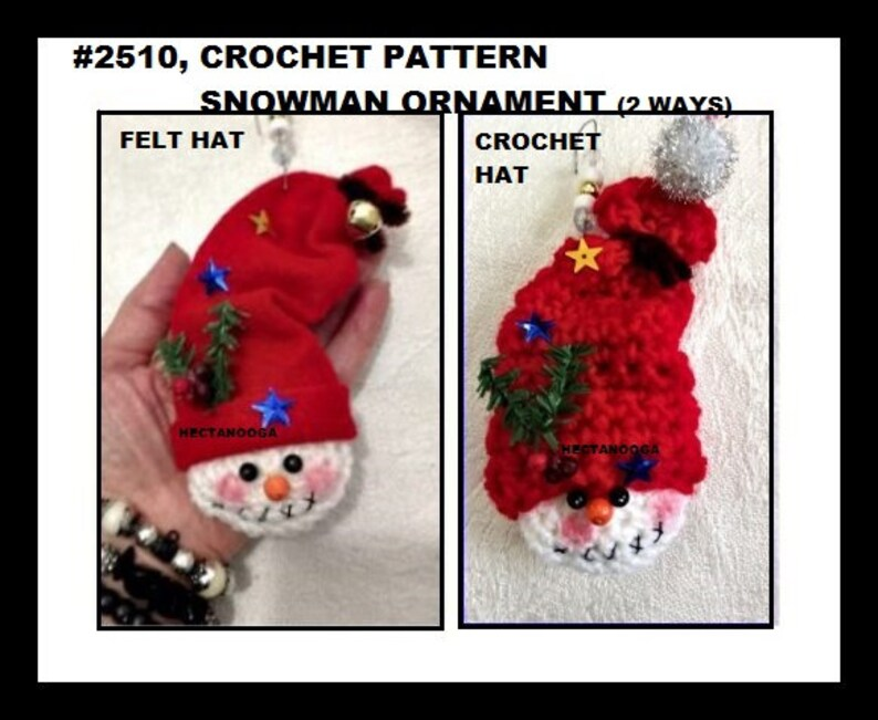 Easy CHRISTMAS pattern Crochet Snowman Ornament crochet image 0