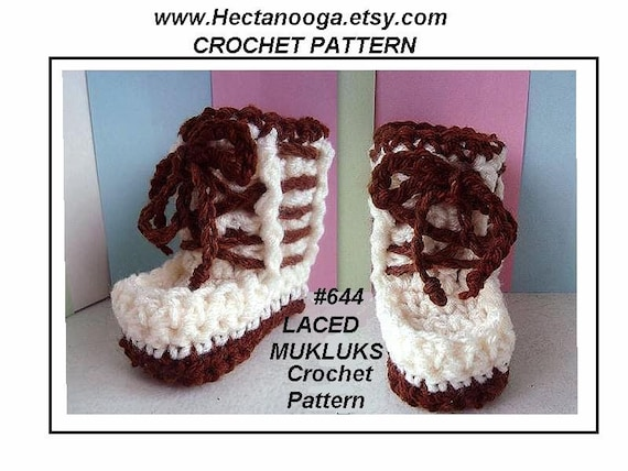 Laced Mukluk Booties Or Slippers Crochet Pattern All Sizes Etsy
