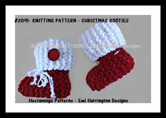 Knitting Pattern Christmas Baby Booties Knitting For Baby Etsy