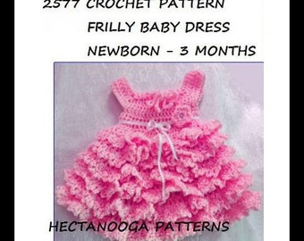 CROCHET BABY Dress Pattern, Frilly baby dress, newborn - 3 months, cute and easy design, #2577
