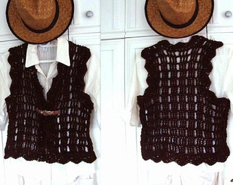 CROCHET Vest or Shrug, size 28 - 60 inch chest, Crochet PATTERN for teens and women's clothing, pdf digital download #704, craft supplies