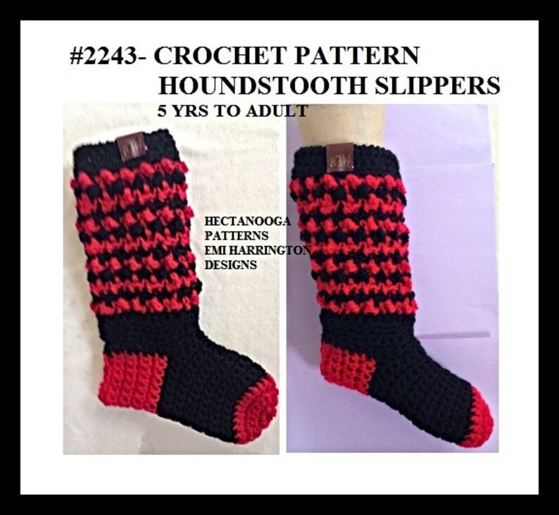 Crochet Slipper Pattern 5 Yrs To Adult Xl Houndstooth Etsy
