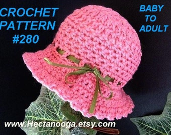 CROCHET PATTERN hat -  Pink Picot Edge Sunhat # 280, all sizes from Newborn baby to Adult.  Permission to sell your finished hats