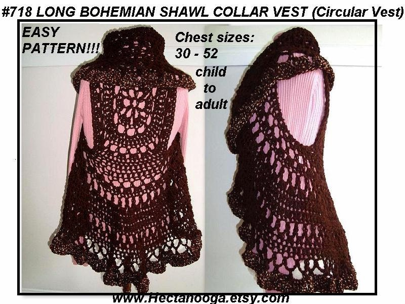 Crochet Pattern Long Bohemian Vest Shawl Collar Crochet Sweater