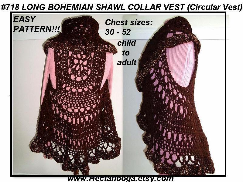 crochet pattern , Long Bohemian Vest, shawl collar, crochet sweater ...