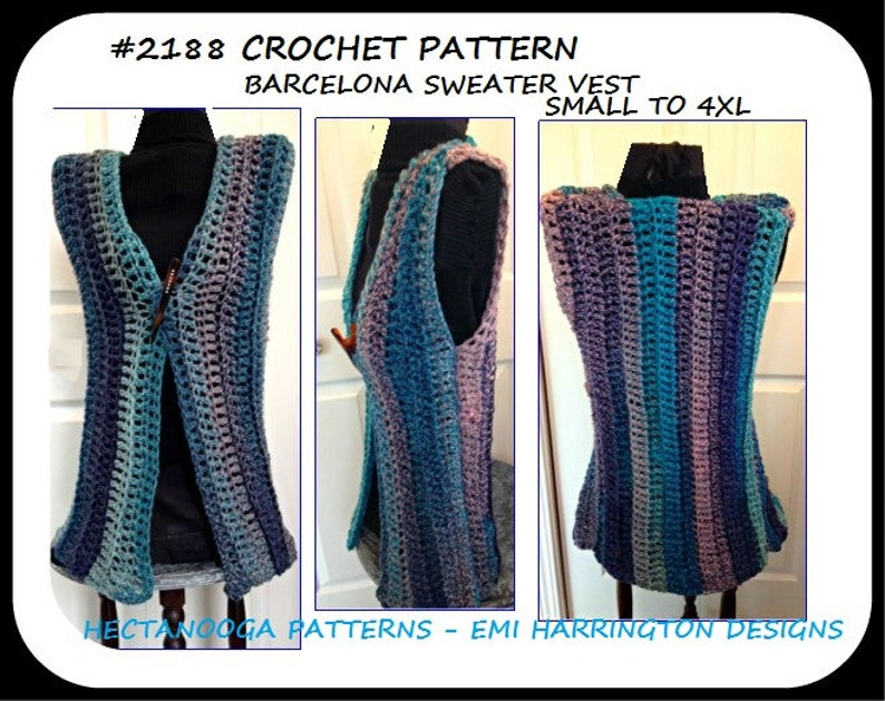 Crochet Vest Pattern Women And Teens Plus Size Extended Etsy