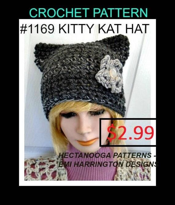 Crochet Pattern Hat Kitty Kat Hat Pussy Cat Hat Num 1169 Etsy