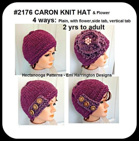 Knit Hat Pattern Knit Flower Pattern 4 Styles Knitting For Etsy