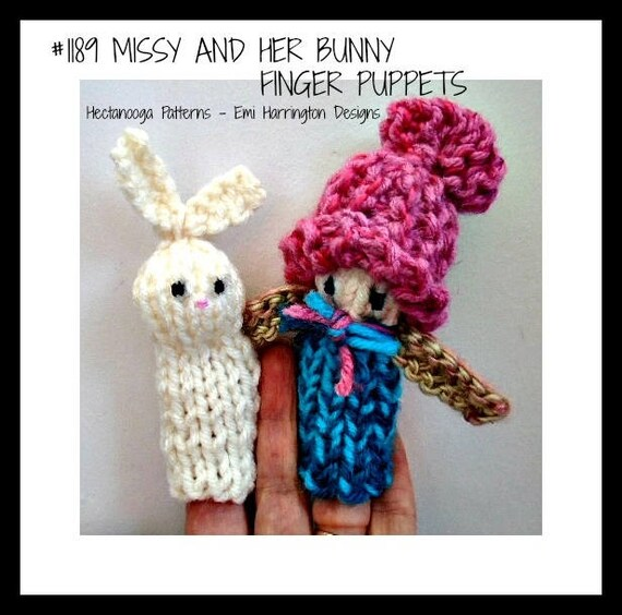 Knitting Pattern Finger Puppets Bunny Finger Puppet Girl Etsy