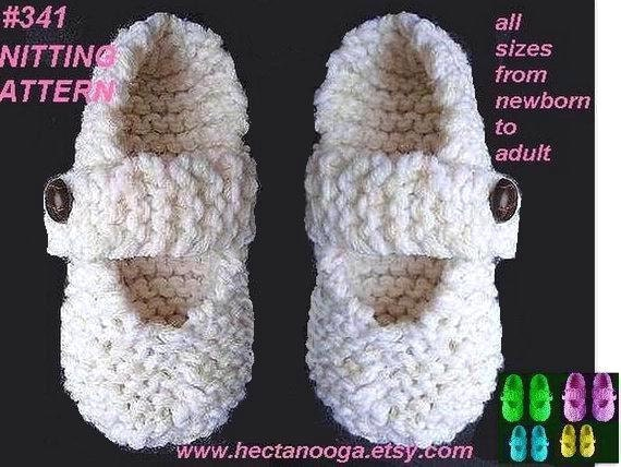 Mary Jane Slippers Baby To Adult Beginner Level Knitting Etsy