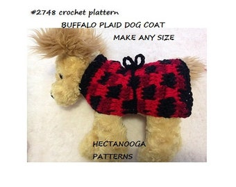 Crochet Dog Coat pattern, BUFFALO PLAID dog wrap, crochet for pets, make any size, pet accessories and clothing, #2748
