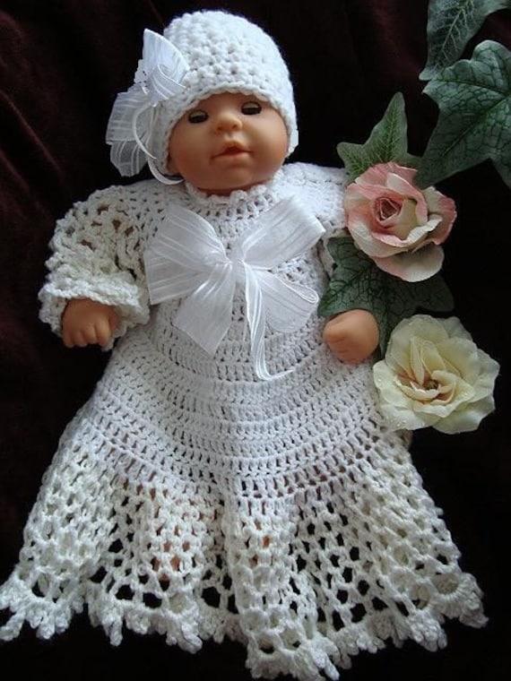 ecf214974 Christening outfit Dress Hat CROCHET PATTERN Baby