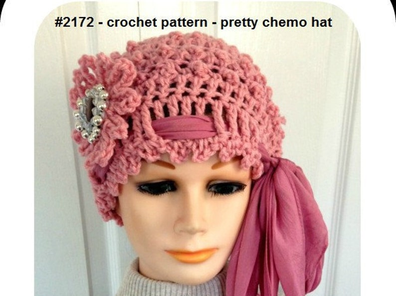 Crochet Hat Pattern Pretty Chemo Hat Beanie Touque Adult Etsy