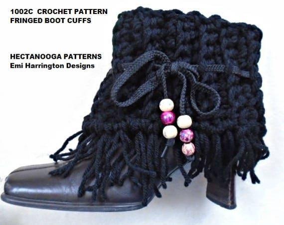 CROCHET PATTERN fringed boot cuffs crochet for women teen | Etsy