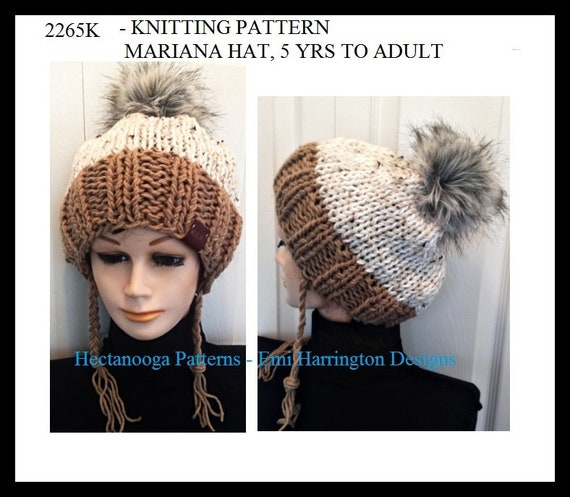 Knitting Pattern Mariana Hat 5 12 Yrs 12 16 Yrs Adult Etsy