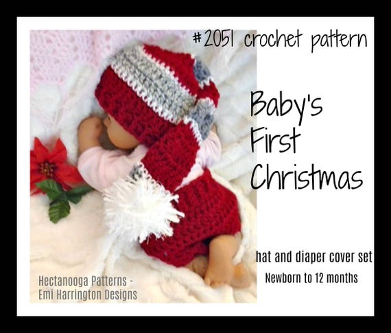 Babys First Christmas Crochet Pattern Diaper Cover And Etsy