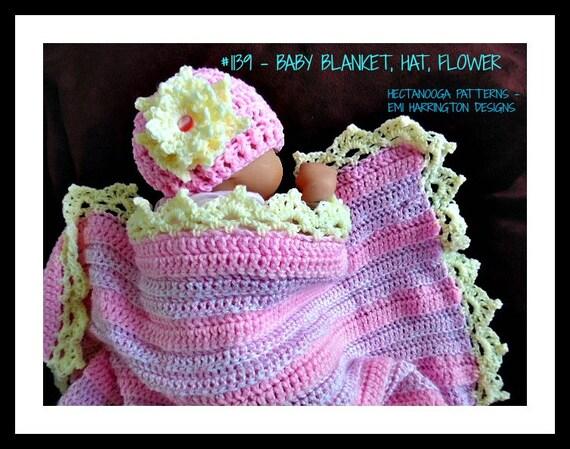 Crochet Baby Pattern Blanket Hatflower Easy Beginner Etsy