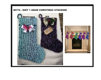KNITTING PATTERNS, 1 hour knit Homespun Christmas Stocking, Easy flat knit project,  #2774, Christmas home decor,  Holiday decorations