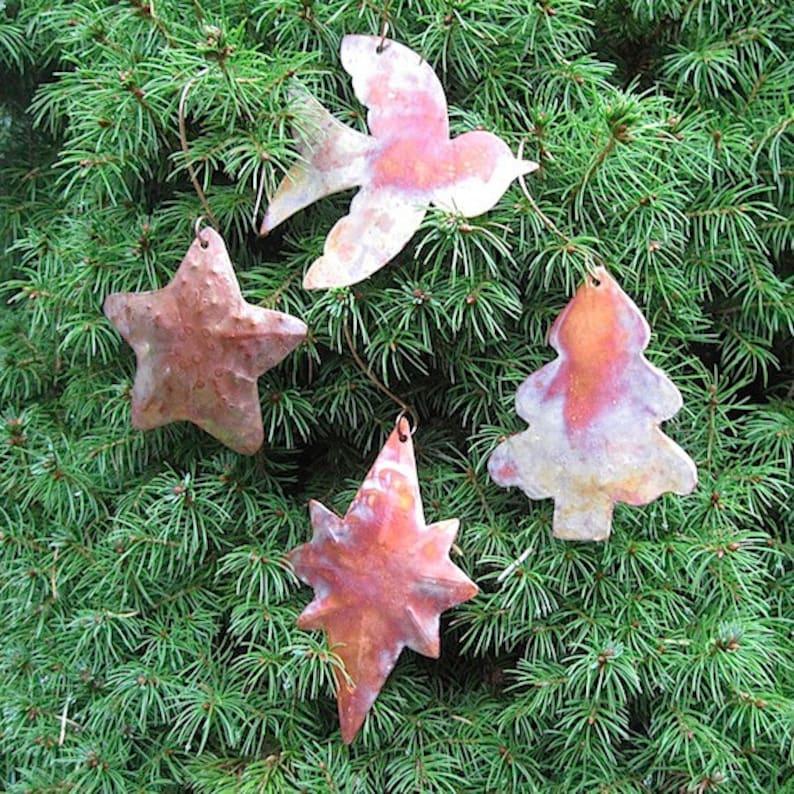 Peace Bird 4 Piece Holiday Decorations Xmas Tree Advent Decor Starfish Rustic Copper Christmas Ornament Set 8 Point Star of Bethlehem