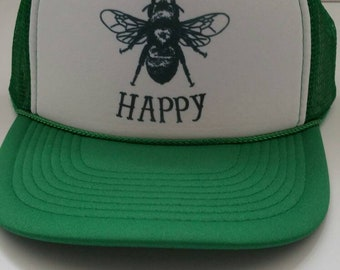 491b73d9a5e Bee Happy Hat  Bee Happy Today Trucker Hat Bee Keeping Green Hat Outdoors   Inspirational Gift  Affirmation Sun Hat Recovery Gift  Yoga Wear