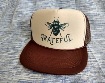80601f1fdaa90 Bee Grateful  Brown Trucker Hat  Gratitude  Bee keeping Sun Hat Yoga   Grateful Dead Gifts for Him Father s Day Recovery Grads and Dad s