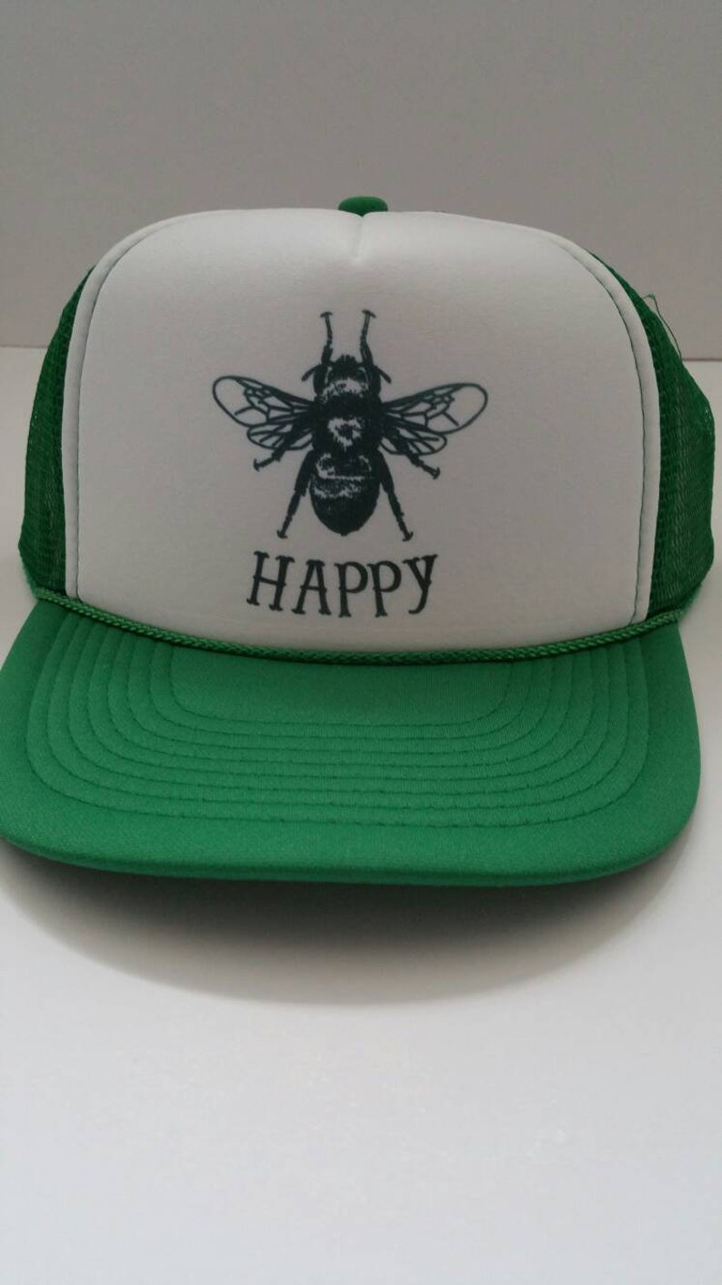 38433bd5 Bee Happy Hat/ Bee Happy Today/Trucker Hat/Bee Keeping/Green | Etsy