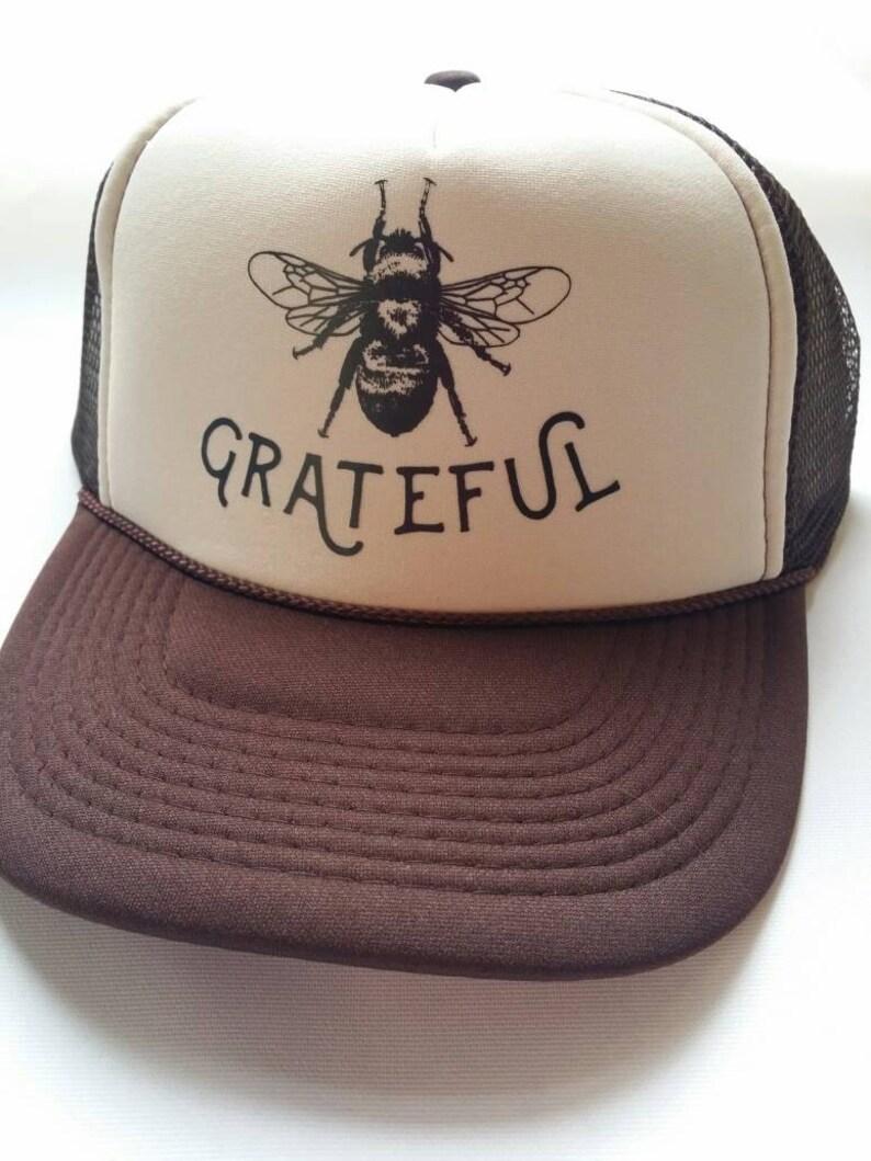Bee Grateful  Brown Trucker Hat  Gratitude  Bee  3db93e428c8