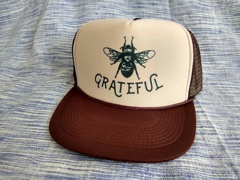 035c05a8 Bee Grateful/ Brown Trucker Hat/ Gratitude/ Bee keeping/Sun | Etsy