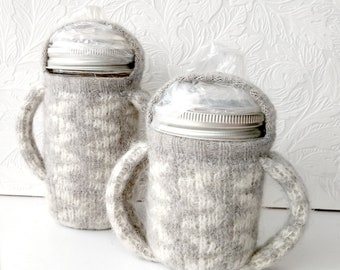 Quilted Canning Jar Sippy cup with handled cozy